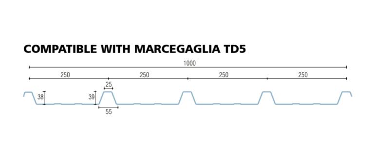 policarbonato compatto grecato compatibile marcegaglia td5